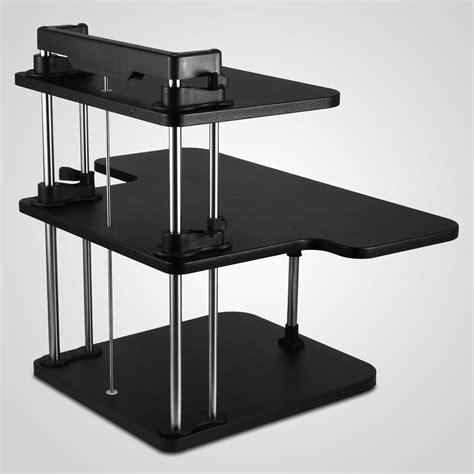 mobile sit stand desk 3 tier adjustable computer standing desk workstation