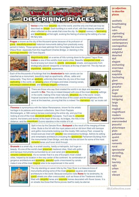 esl describing places worksheets