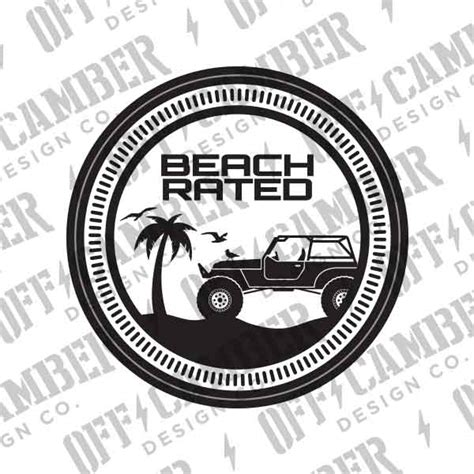 jeep beach decals beach rated badge 2 pack alphavinyl