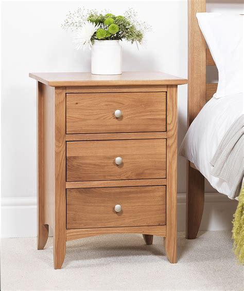 Bedside Tables by Edward Hopper Oak Bedside Table 3 Drawer Assembled