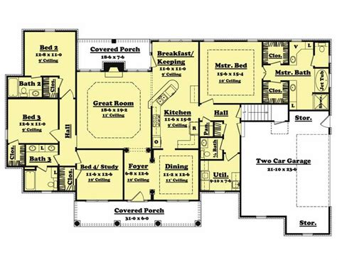 house plans 4 bedroom traditional country home floor plan four bedrooms plan