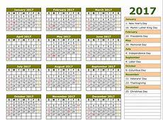 2017 Printable Calendar Template, Holidays, Excel & Word