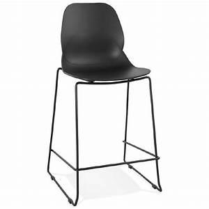 Chaise Mi Hauteur : tabouret de bar chaise de bar industriel mi hauteur empilable juliette mini noir ~ Teatrodelosmanantiales.com Idées de Décoration