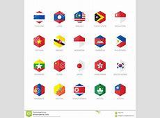 Icônes De Drapeau De L'Asie De L'Est Et D'Asie Du SudEst