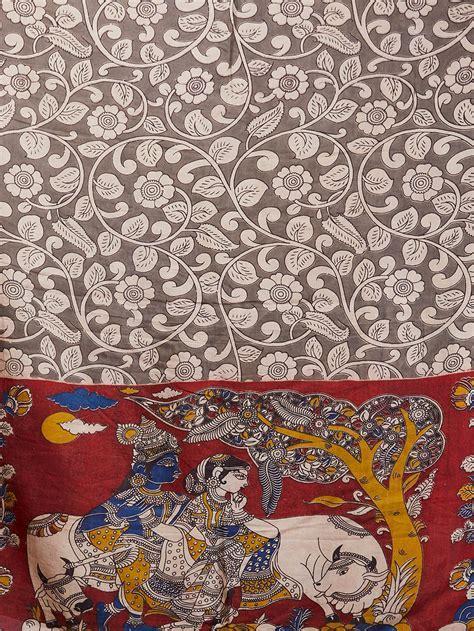 Buy Multicolor Radha Krishna Kalamkari Printed Cotton Silk