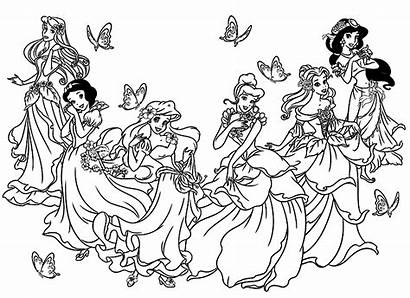 Coloring Disney Princesses Pages Adult Adults Childhood