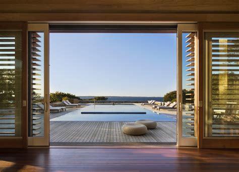 glass sliding doors beach style pool  york