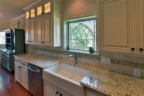 eggshell glazed cabinets traditional kitchen dallas