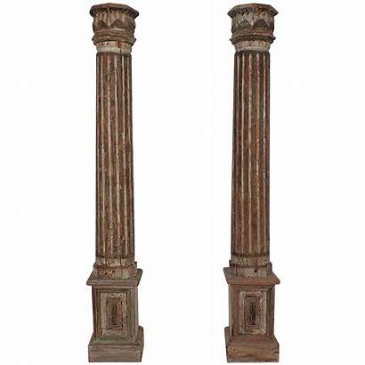 Wood Columns Carved Neoclassical Pillars Carving Garden