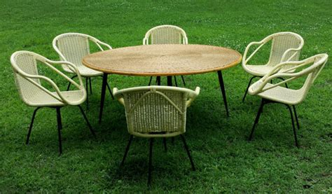 midcentury wicker table 6 swivel chairs by