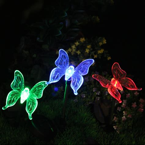 solar color changing butterfly garden stake light set of