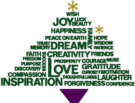 happiness christmas tree embroidery design