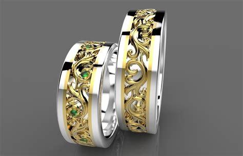 wedding rings gold 3d 3d printable stl cgtrader com