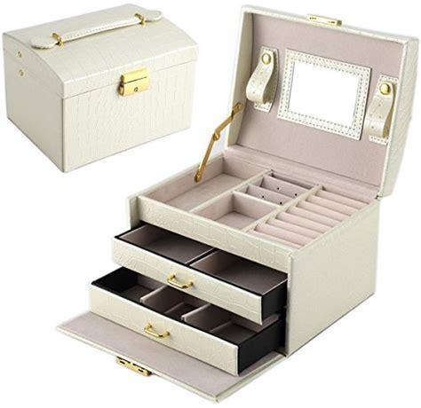dccn boite a bijoux femme fille cuir coffret 224 bijou el 233 gant avec miroir armoir mallette 224