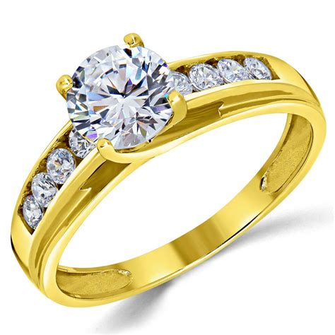 14k solid yellow gold cz cubic zirconia solitaire engagement ring 1 00 ct ebay