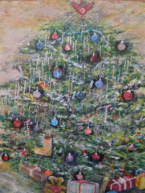 fully decorated christmas tree painting  william spivey