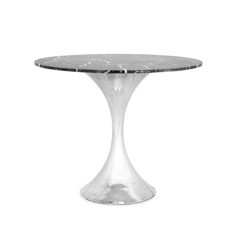 hammered metal table l base 36 stone top dining table with hammered base mecox gardens