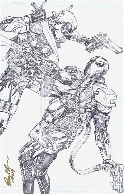 Deadpool Deathstroke Coloring Vs Deviantart Drawings Sketch