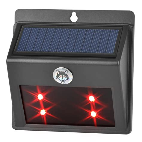 Solar Powered Led Animal Repeller Red Light Wall Lamp For