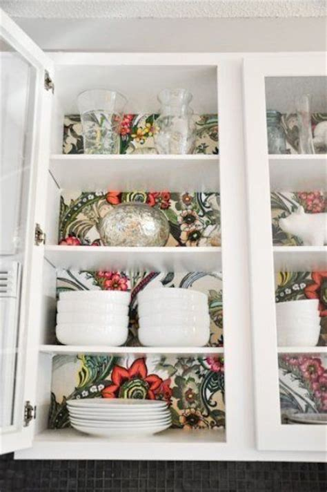 wallpaper inside kitchen cabinets 30 stylish ways to use floral wallpaper in your home
