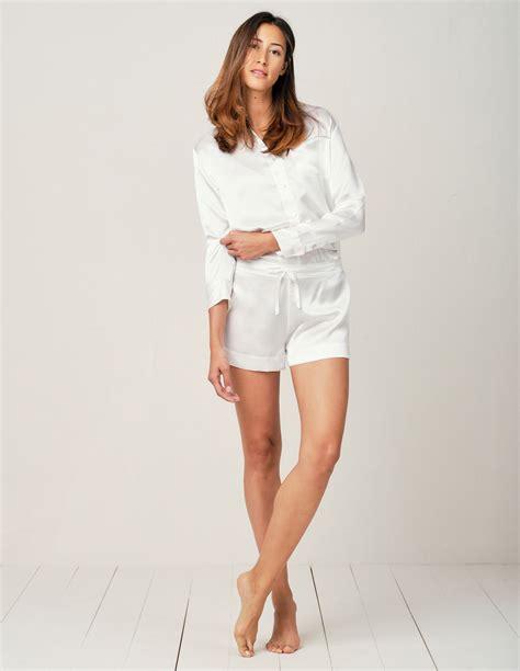 Alexandra Moonlight White Silk Pyjama Short Set/Separate