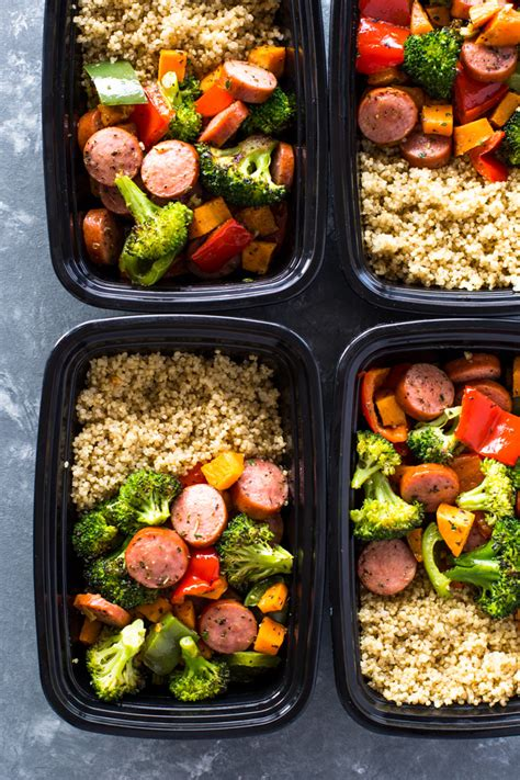 roasted sausage veggies  quinoa meal prep gimme