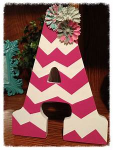 chevron wooden letter with flowers my creations With chevron wooden letters