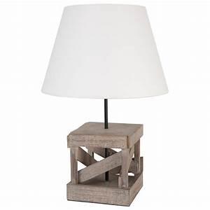 Abat Jour En Bois : lampe poser pied carr en bois avec abat jour blanc ~ Dailycaller-alerts.com Idées de Décoration