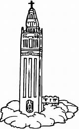 Coloring Church Tower Pages Clock Netart sketch template
