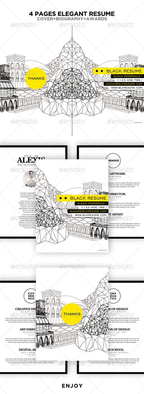 graphicriver black resume booklet 5483900
