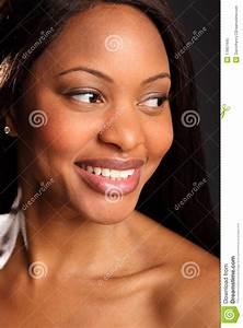 Beautiful Black Woman Headshot Happy Smile Stock Image ...