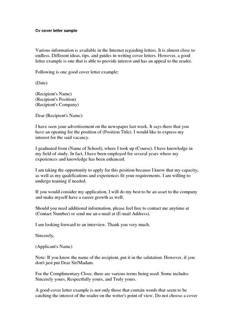 Cover Letter For Curriculum Vitae Template by Basic Cover Letter For A Resume Jantaraj