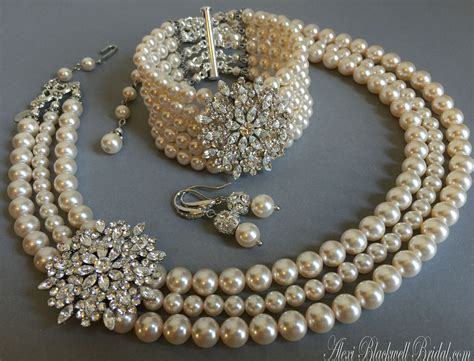 Wedding Jewelry Sets For Brides : Complete Bridal Jewelry Set Pearl Necklace Bracelet Earrings