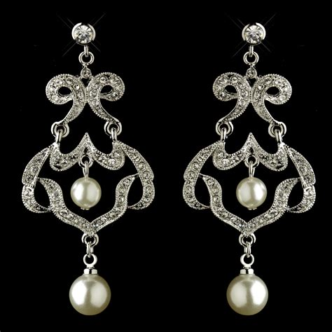 infinity rhinestone pearl chandelier earrings