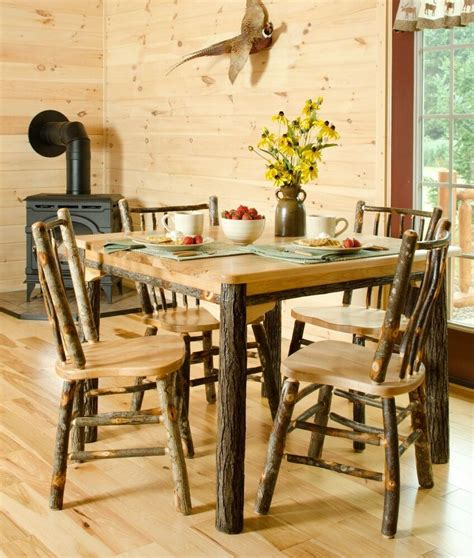 hickory or hickory oak rustic dining room table 4 chairs amish made ebay