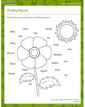 Finding Nouns  Free 1st Grade Grammar Worksheet For Kids Jumpstart