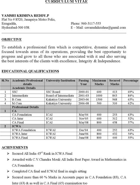Resume Headline Chartered Accountant by Chartered Accountant Resume Templates Free