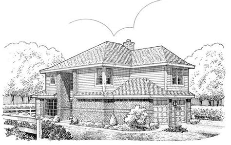 House Plan 95527 Narrow Lot Style with 1376 Sq Ft 3 Bed