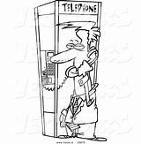 Coloring Booth Phone Cartoon Outline Businessman Toonaday sketch template