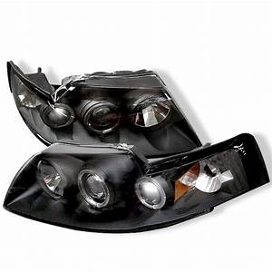 Spyder Auto PRO-YD-FM99-1PC-AM-BK | 2003 Ford Mustang Black LED Halo Projector Headlights for Coupe