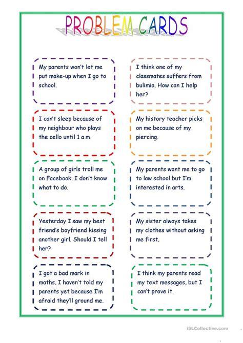 giving advice problem cards worksheet  esl