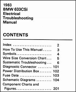1983 Bmw 633csi Electrical Troubleshooting Manual Original