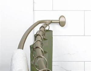 Brass curved shower curtain rodcurved shower curtain rod for Bathroom curtain poles