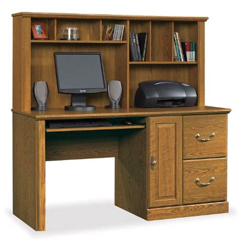 sauder orchard hills large wood computer desk with hutch