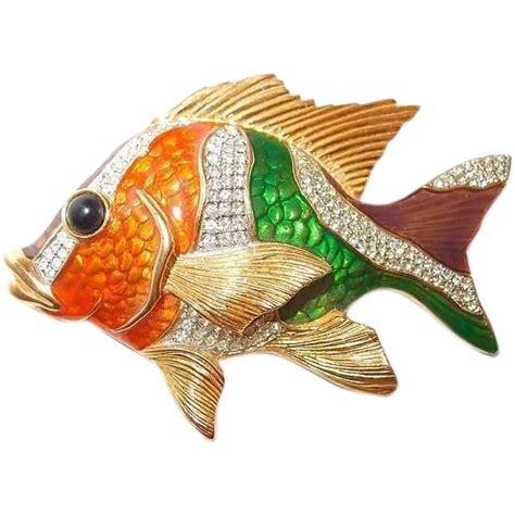 dimensional grouper enameling glazed brooch fish