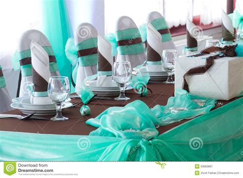deco table turquoise chocolat table set for a wedding dinner royalty free stock photography image 33660897