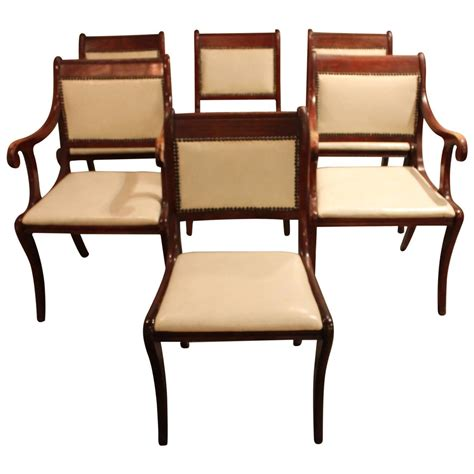set of six vintage regency style dining chairs for sale at