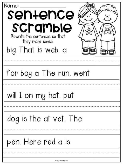 sentence scramble worksheet  kindergarten students