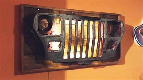 jeep grill art diy jeep grille wall light youtube