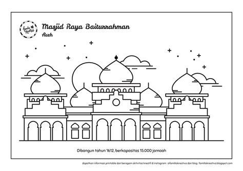 baru gratis printable mewarnai 6 masjid nusantara